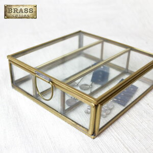 ガラスケース 真鍮 アクセサリーケース【 ブラス&ガラス 3パーテーションボックス 】ディスプレイケース 卓上 蓋付き コレクションケース ジュエリーボックス アンティーク Brass リングピ