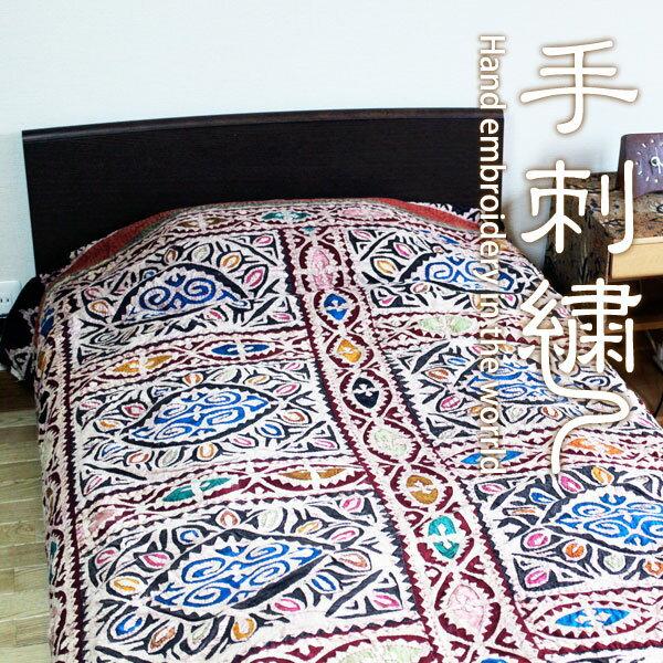 マルチクロス マルチカバー 手刺繍【インドのアップリケ・マルチクロス 】パッチワークベッドカバー ソファカバー アジアン エスニック 【取寄せ品】一点もの