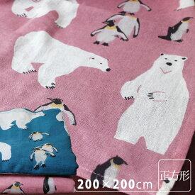 マルチカバー ソファー ベッド おしゃれ《 マルチカバー・アークティックライフ 白くまとペンギン (正方形・200×200cm) 》シロクマ スクエア 動物柄 柄物 こたつカバー シンプル 綿100% インド綿 イタワ【あす楽対応】【ラッピング対応】