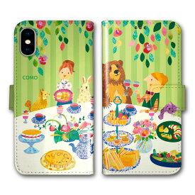 【200円OFFクーポン有】 Xperia 5 SO-01M SOV41 手帳型 スマホケース 全機種対応 SO-02L SO-01L SH-02M SH-04L SH-01L SC-02M SC-01M HW-02L iPhone11 Pro XR XS 手帳 カバー COMO デザイン クマとパーティー うさぎ ワイン