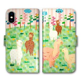 【200円OFFクーポン有】 Xperia 5 SO-01M SOV41 手帳型 スマホケース 全機種対応 SO-02L SO-01L SH-02M SH-04L SH-01L SC-02M SC-01M HW-02L iPhone11 Pro XR XS 手帳 カバー COMO デザイン アルパカ 大集合 ほのぼの コラージュ