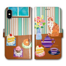 【200円OFFクーポン有】 Xperia8 SOV42 Xperia5 SO-01M SOV41 スマホケース 手帳型 SO-02L SH-02M SHV45 SC-02M SCV46 SC-01M SCV45 iPhone AQUOS Galaxy SIMフリー 全機種対応 COMOデザイン アニマル柄 手帳 スイーツ ドーナツ ケーキ ネコ