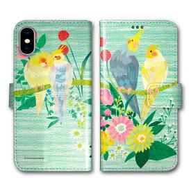 【200円OFFクーポン有】 Xperia 5 SO-01M SOV41 手帳型 スマホケース 全機種対応 SO-02L SO-01L SH-02M SH-04L SH-01L SC-02M SC-01M HW-02L iPhone11 Pro XR XS 手帳 カバー COMO デザイン オカメインコ カップル お花