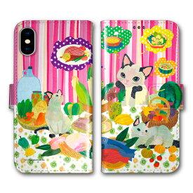 【200円OFFクーポン有】 Xperia 5 SO-01M SOV41 手帳型 スマホケース 全機種対応 SO-02L SO-01L SH-02M SH-04L SH-01L SC-02M SC-01M HW-02L iPhone11 Pro XR XS 手帳 カバー COMO デザイン おしゃれ にゃんこ ネコ フルーツ