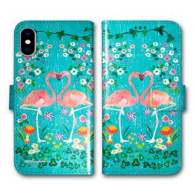 【200円OFFクーポン有】 Xperia 5 SO-01M SOV41 手帳型 スマホケース 全機種対応 SO-02L SO-01L SH-02M SH-04L SH-01L SC-02M SC-01M HW-02L iPhone11 Pro XR XS 手帳 カバー COMO デザイン フラミンゴ フラワー カップル