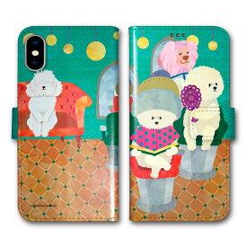 iPhone11 iPhone11 Pro Max スマホケース 手帳型 全機種対応 Galaxy A20 SC-02M SH-02M SO-01M SO-02L SH-02M SH04L iPhone XR iPhone XS Max XS X 8 Plus 7 iPod touch7 COMOデザイン 手帳 カバー フワフワ犬 イヌ美容院