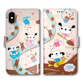 スマホケース 手帳型 全機種対応 iPhone11 iPhoneXR iPhone8 AQUOS sense3 SH-02M SHV45 SH-04L SH-01L SO-01M SOV41 SOV42 SC-02M SCV46 SC-01M スマホ カバー ケース イドナオミ クシュクシュボンボン お菓子 クッキー アイスクリーム