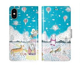 iPhone XR iPhone XS iPhone8 ケース スカラー 手帳型 SO-02L SO-01L SO-05K SH-04L SH-01L SH-03K SH-01K SC-04L SC-03L SC-02L F-02L F-04K ScoLar 手帳型ケース 全機種対応 メルヘン パンダ バルーン 水色 ダイアリー 可愛い