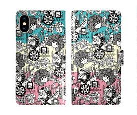 iPhone XR iPhone XS iPhone8 ケース スカラー 手帳型 SO-02L SO-01L SO-05K SH-04L SH-01L SH-03K SH-01K SC-04L SC-03L SC-02L F-02L F-04K ScoLar 手帳型ケース 全機種対応 スカコ 機械 スカル 工場 三色柄 ダイアリー