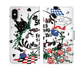 iPhone XR iPhone XS iPhone8 ケース スカラー 手帳型 SO-02L SO-01L SO-05K SH-04L SH-01L SH-03K SH-01K SC-04L SC-03L SC-02L F-02L F-04K ScoLar 手帳型ケース 全機種対応 ウサギ ネコ フラワー ワンダーランド かわいい