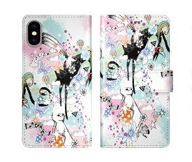 iPhone XR iPhone XS iPhone8 ケース スカラー 手帳型 SO-02L SO-01L SO-05K SH-04L SH-01L SH-03K SH-01K SC-04L SC-03L SC-02L F-02L F-04K ScoLar 手帳型ケース 全機種対応 ウサギ フラワー チョウ 五線譜 メルヘン かわいい
