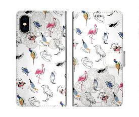 iPhone XR iPhone XS iPhone8 ケース スカラー 手帳型 SO-02L SO-01L SO-05K SH-04L SH-01L SH-03K SH-01K SC-04L SC-03L SC-02L F-02L F-04K ScoLar 手帳型ケース 全機種対応 フラミンゴ 鳥がいっぱい スカラコ かわいいデザイン