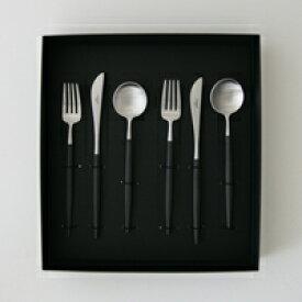 Cutipol クチポール カトラリー GOA ( ゴア ) ブラック デザート6ピースセット【ギフトボックス入り】
