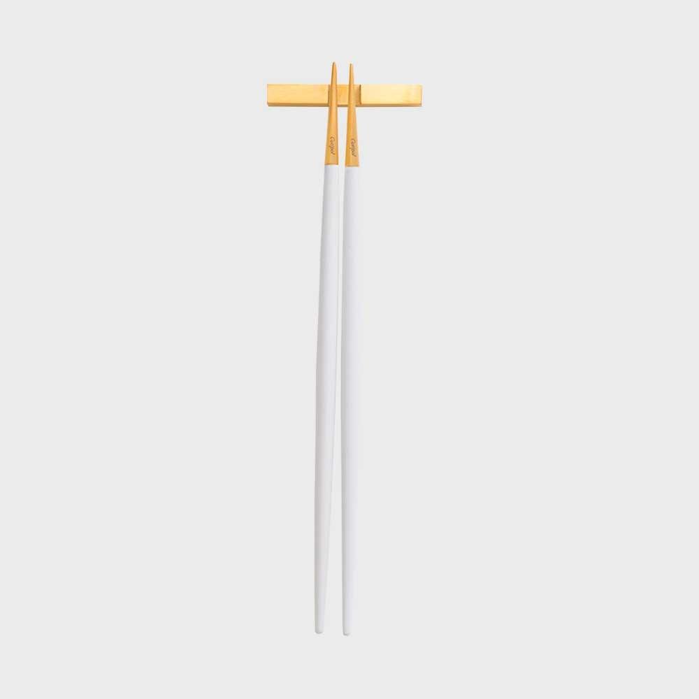 【4/22-|¥100-2000クーポン】Cutipol クチポール GOA ホワイト×ゴールド お箸セット [M便 1/8]