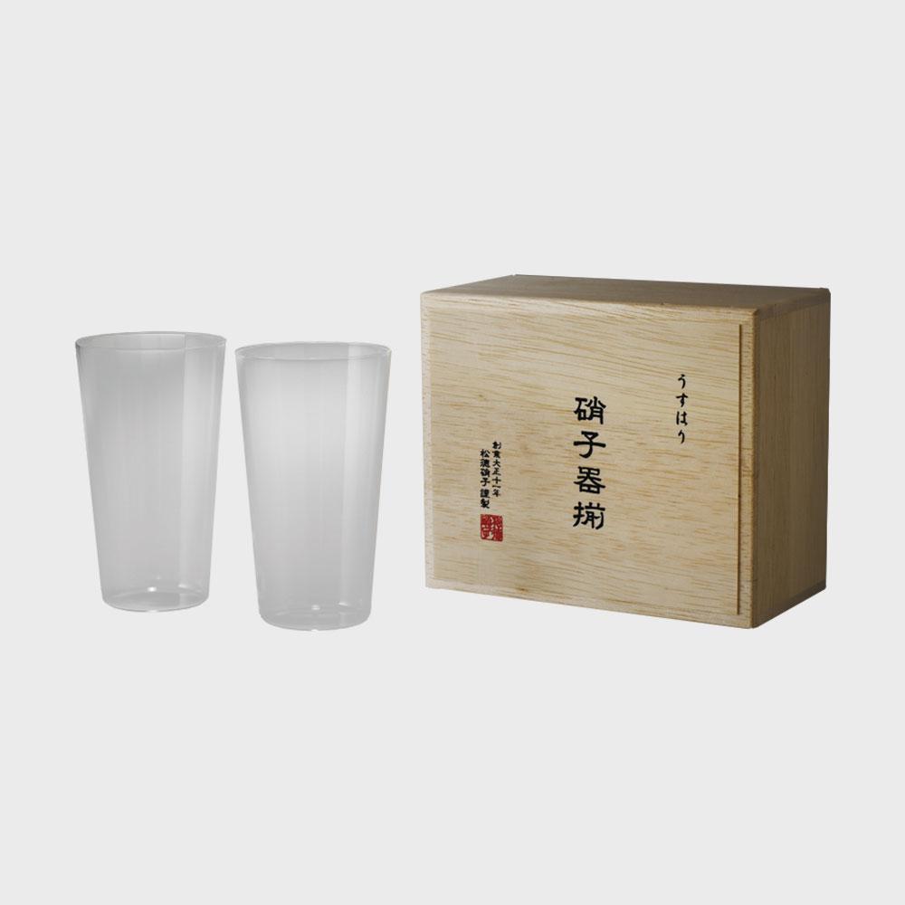【100円offクーポン】松徳硝子/うすはりグラス タンブラーM2個セット 木箱入