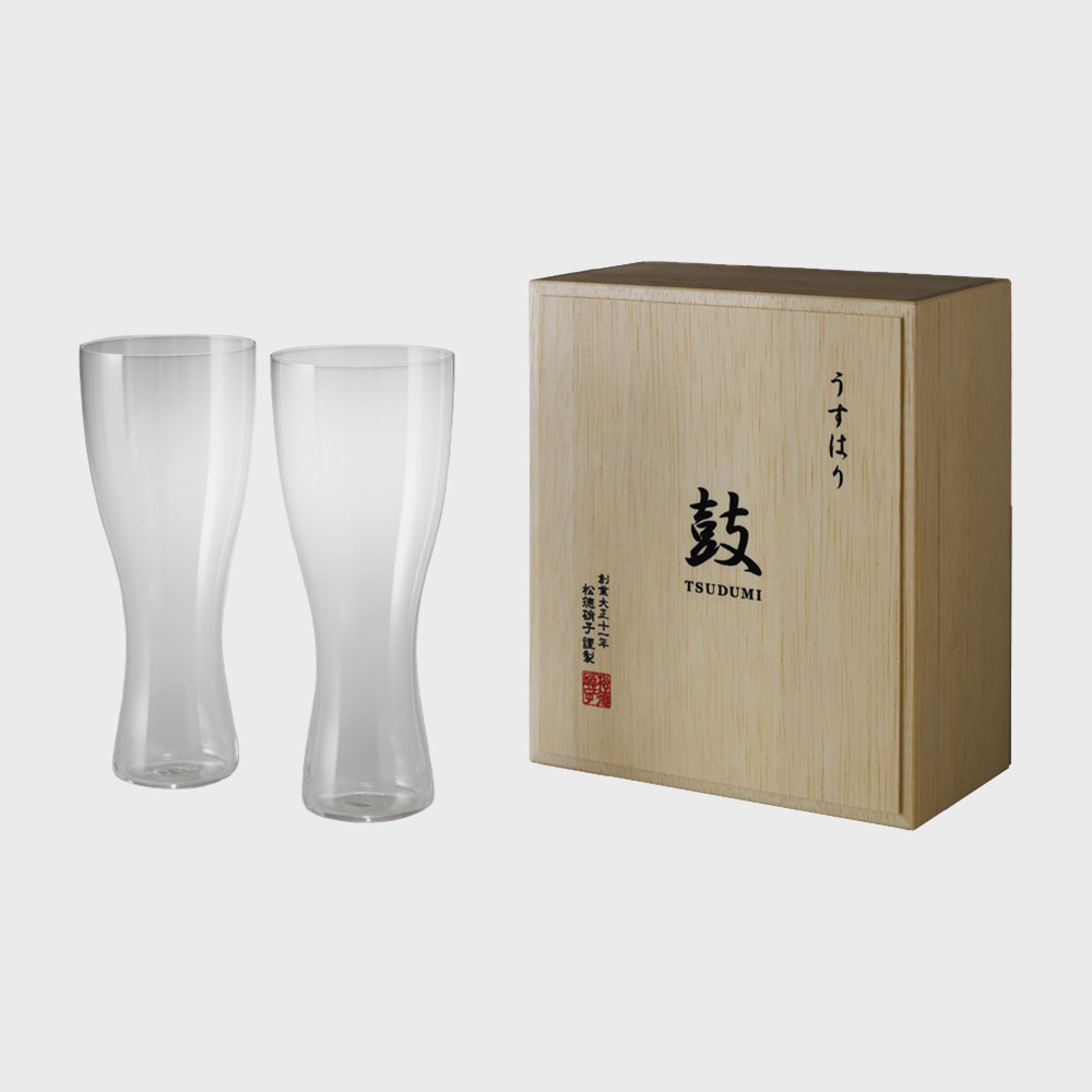 【100円offクーポン】松徳硝子/うすはりグラス/ビールグラス(ピルスナー) 2個セット 木箱入