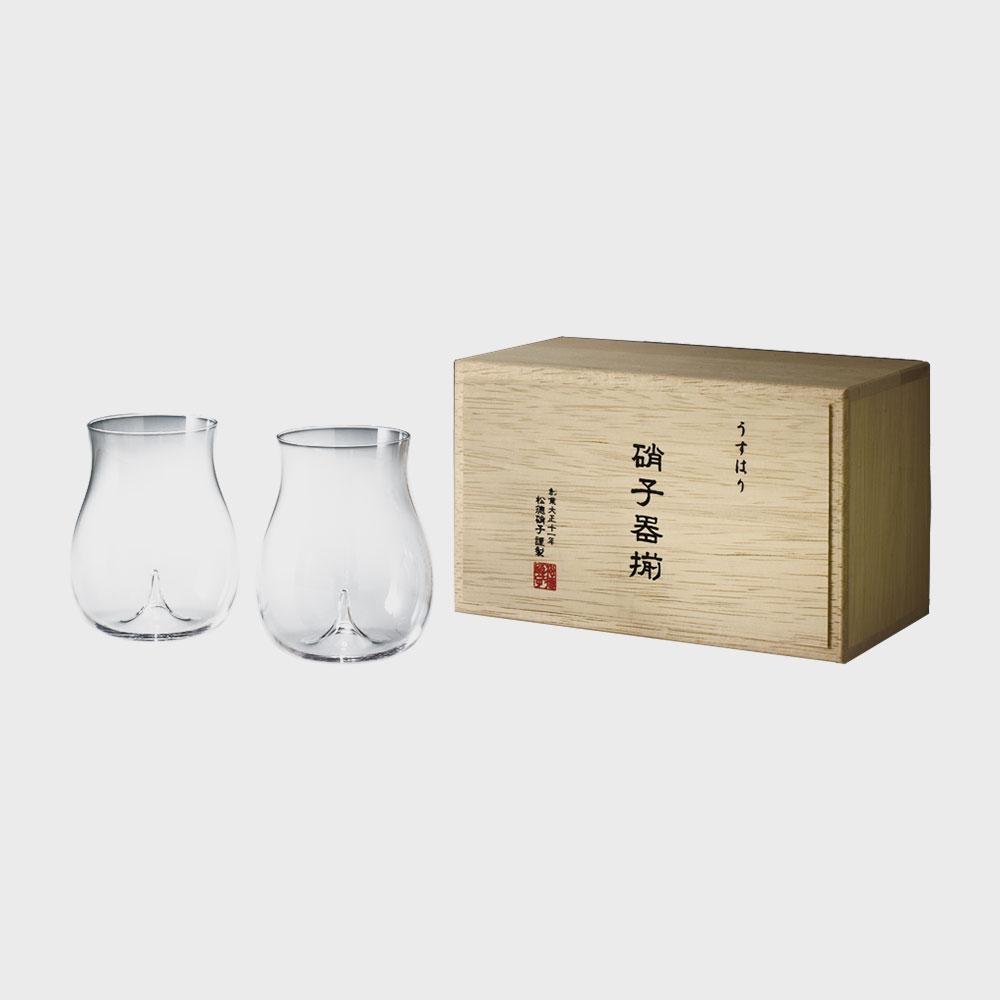 【100円offクーポン】松徳硝子/うすはりグラス/大吟醸 2個セット木箱入