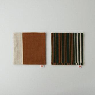 야나기무네미치 패브릭/코스터/바코드무늬 브라운 2 매 셋트[야나기무네미치/패브릭/코스터는 바코드무늬][M편1/4]