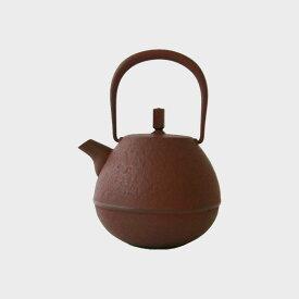 岩清水久生/空間鋳造/南部鉄器/鉄 急須/Egg中 朱色(0.4L) [空間鋳造の南部鉄器/急須]