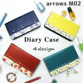 arrows M02 ケース 手帳型 スマホケース 花柄 切り返しデザイン カバー アローズ アロウズ