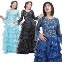 ステージ衣装 ロングドレス スパンコール 花刺繍 大きいサイズ パーティー コンサート ライブ 発表会 演奏会用ドレス …