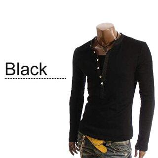 Tシャツメンズヘンリーネックカットソー長袖無地ロングスリーブロンTトップスキレイめコーデ黒白グレー春夏秋メンズファッション