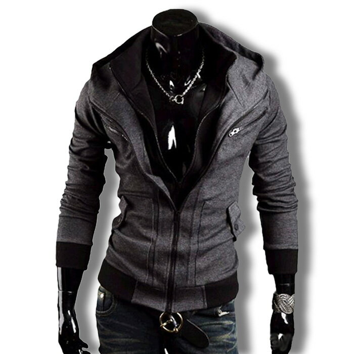 パーカー メンズ ブルゾン ライダースジャケット スウェット オラオラ フェイクレイヤード ダブルジップ 無地 ジップアップ アウタートップス 長袖 フード 冬服