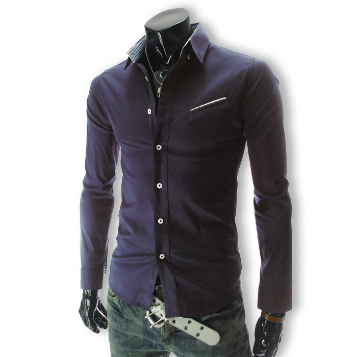 カジュアルシャツ メンズ ワイシャツ ボタンダウン 長袖 無地 ロールアップ トップス ビジネス コーデ BUZZ WEAR[バズ ウェア]