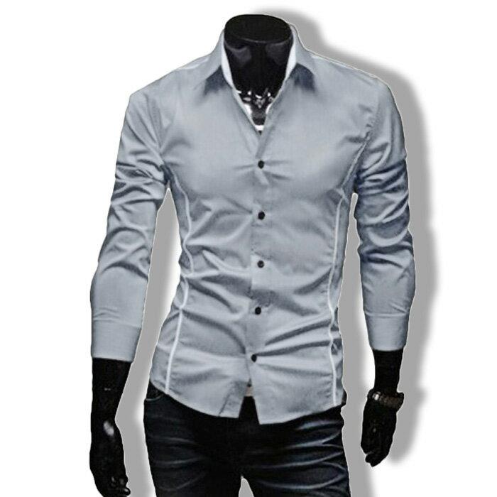 カジュアルシャツ ワイシャツ メンズ 長袖 無地 ストライプ トップス ビジネス コーデ BUZZ WEAR[バズ ウェア]