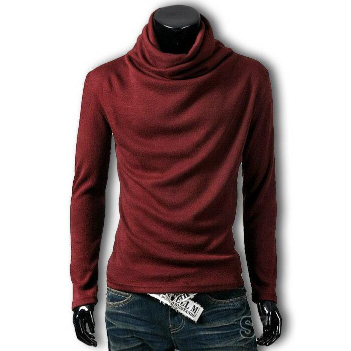 長袖シャツ メンズ tシャツ ロンT タートルネック 無地 シンプル カジュアル トップス アフガンネック ドレープ キレイめ ストレッチ