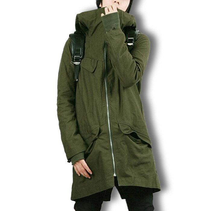 ロング丈 モッズコート ロングコート メンズ ミリタリー 大きいサイズ アウター アーミー 無地 シンプル フード カジュアル 秋服