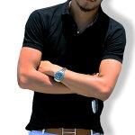 ポロシャツメンズtシャツカットソー半袖無地ゴルフウェアトップスカジュアルコーデトップス黒紺MLXL