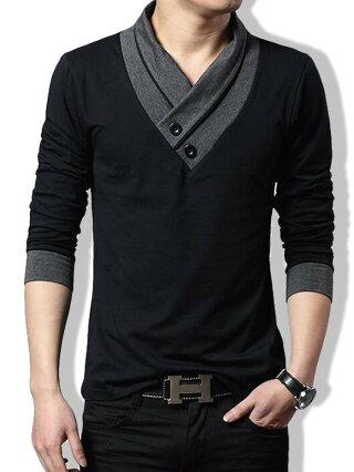 tシャツメンズ長袖カジュアルシャツスリムVネックポロシャツゴルフウェア長袖スカーフ風トップス黒グレーMLXL