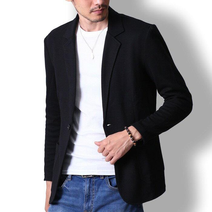 テーラードジャケット メンズ ジャケット スウェット生地 ビジネス カジュアルスーツ フォーマル コーデ 黒 紺 グレー M L XL