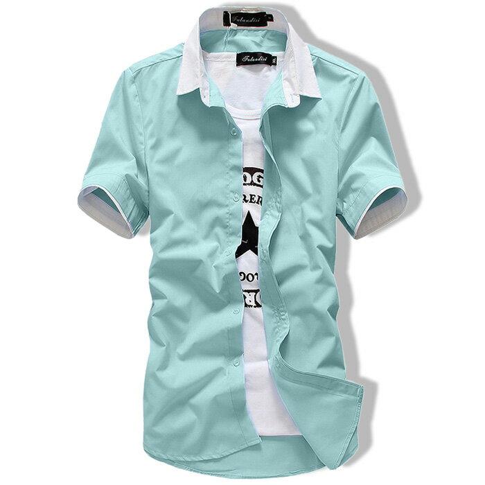カジュアルシャツ メンズ ワイシャツ 半袖 無地 トップス コーデ BUZZ WEAR[バズ ウェア]