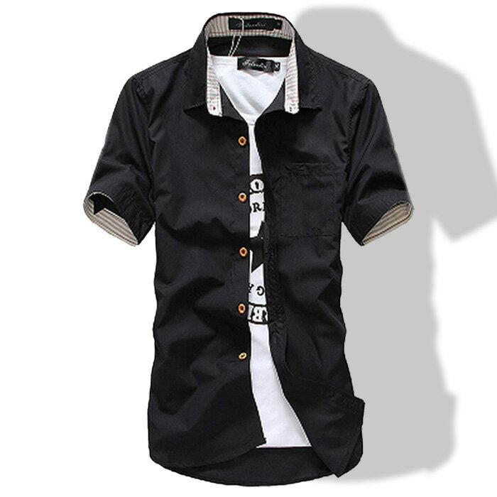 シャツ メンズ 半袖 無地 カジュアルシャツ ロールアップ 裏ボーダー柄 トップス コーデ ワイシャツ メンズファッション 春服 夏服 おしゃれ 大人 M L XL 黒 白 紺 青