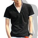 期間限定 全品10%OFF tシャツ メンズ 半袖 Vネック ポロシャツ スタンドカラー 無地 襟袖ライン キレイめ 細身 カジュアル