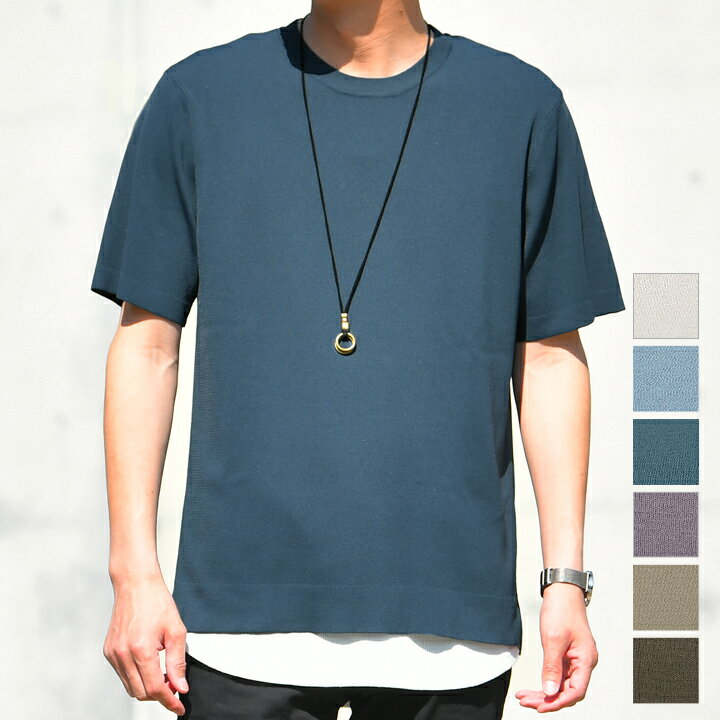 洗える半袖サマーニット トップス/t372(tn0034) /4カラーS.M.L.XL