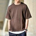 サマーニット メンズ 半袖 麻混リラックスサマーニット 夏物 夏ニット 涼しい/tn1465/ブラウンS-XL