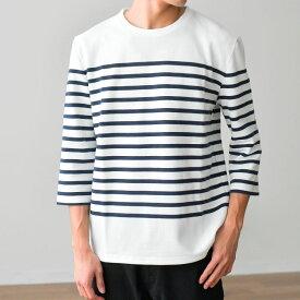 Tシャツ メンズ 7分袖パネルボーダーTシャツ カットソー 春夏 トップス/tt0019/2カラーS〜XL
