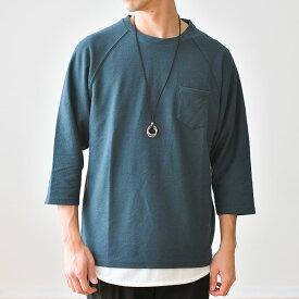 2点セット メンズ ネックレス付き8分袖ラグランTシャツ アクセサリー付きトップス セット カットソー トップス/tt1335/3カラーS〜XL