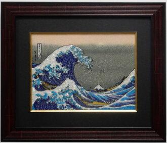쥬얼리 회화□저패니즘 가쓰시카 호쿠사이 「가나가와충랑리KONU」장방형 M사이즈 30.48×22.86 cm인테리어벽장식액들이 핸드메이드 보석으로 만든 회화