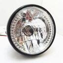 バイク ヘッドライト LED ウインカー H4 一体型 ハーレー/アメリカン/ヘッドライト/(ブラック)/汎用