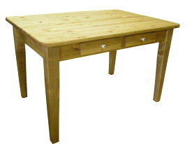 [カントリー家具]ダイニングテーブルW1200引き出し付【送料無料】パイン家具 テーブル 食卓テーブル[完成品]木製 ナチュラル カントリーテイスト フレンチカントリー モダン 無垢