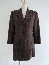 ラルフローレン Ralph Lauren ウールストライプセットアップスカートスーツ 7/JK-B79 H89 T160 SK-W60 H89【中古】【51B81】【高価買取中】【店頭受取対応商品】