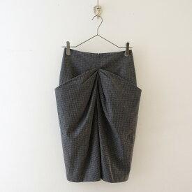 ブルネロクチネリ BRUNELLO CUCINELLI ウールチェックドレープポケットスカート 36【中古】【80K02】【高価買取中】