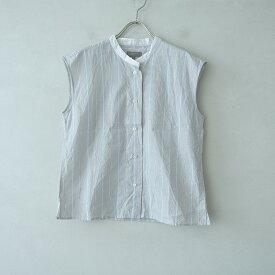 マーガレットハウエル MARGARET HOWELL バンドカラーストライプスリーブレスシャツ 1【中古】【32D12】【高価買取中】