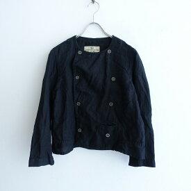【黒染】 ネストローブ nest Robe リネンノーカラージャケット -【中古】【12D12】【高価買取中】