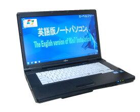 90日保障 貴重!英語版WINDOWS 7 PROインストール FUJITSU A561  英語キーボード互換配列 高速CPU Core I5 2.50G DVD鑑賞 無線【中古】