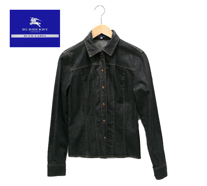 【BURBERRY BLUE LABEL】バーバリーブルーレーベル デニム シャツ ブラック サイズ38 【中古】